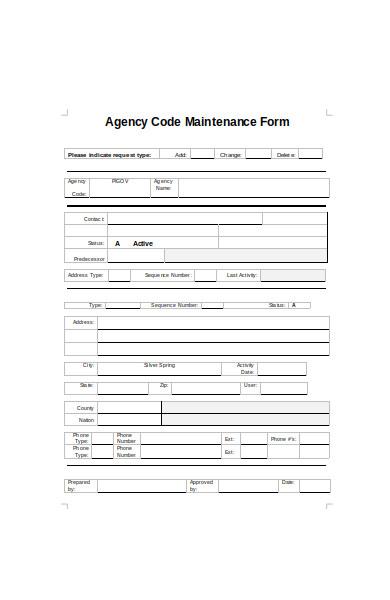 agency code maintenance form