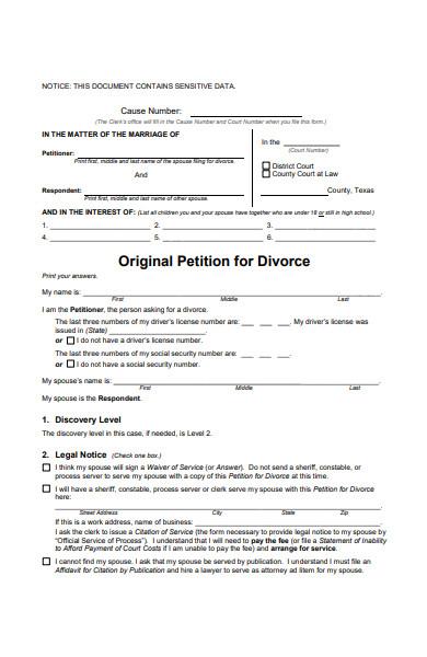 agreed divorce form