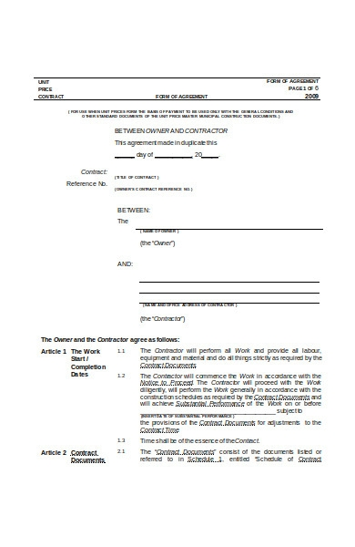 agreement form in doc