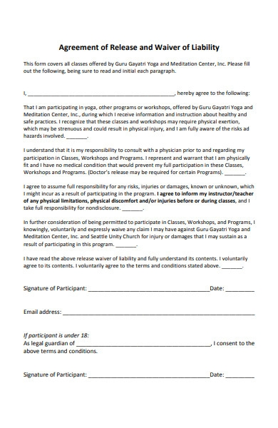 agreement of release and waiver of liability form in pdf