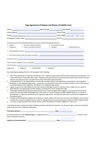 agreement of release and waiver of liability form