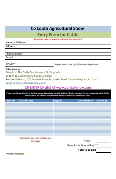 agricultural show entry form