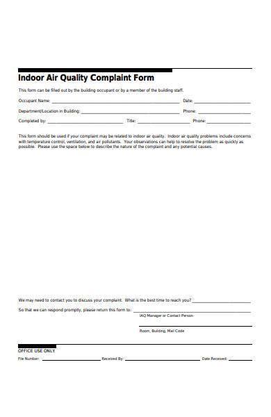 air quality complaint form