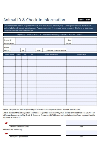 animal id check in information form
