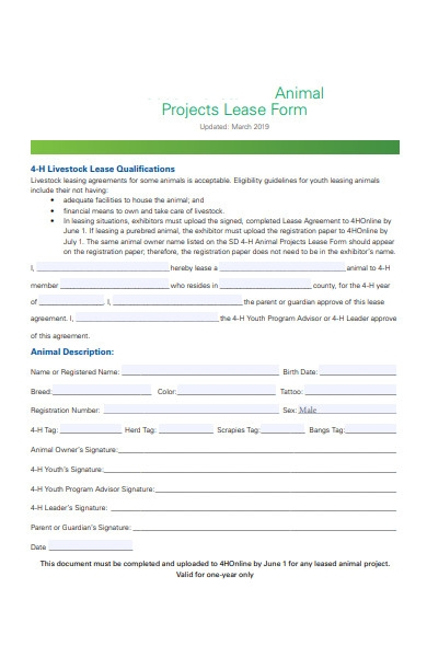 animal project lease form