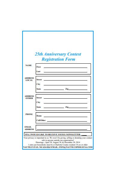 anniversary contest registration form
