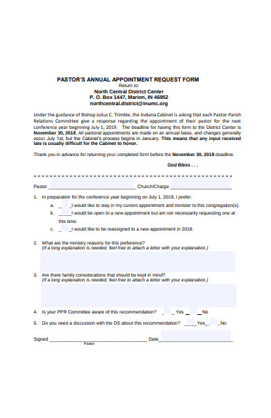 annual appointment request form