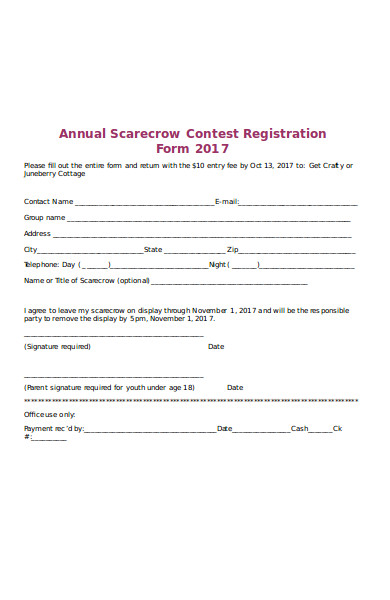annual contest registration form