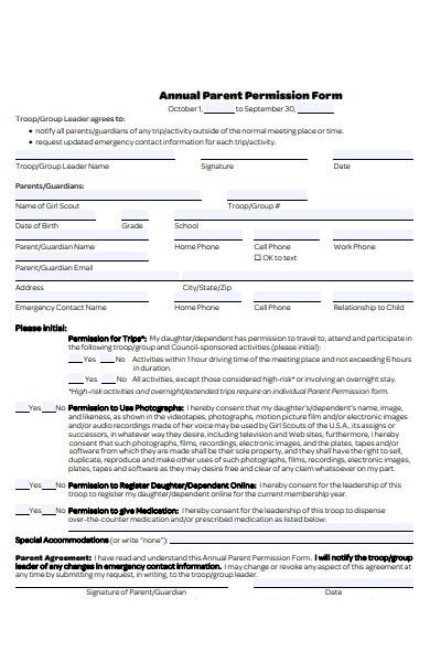 annual parent permission form