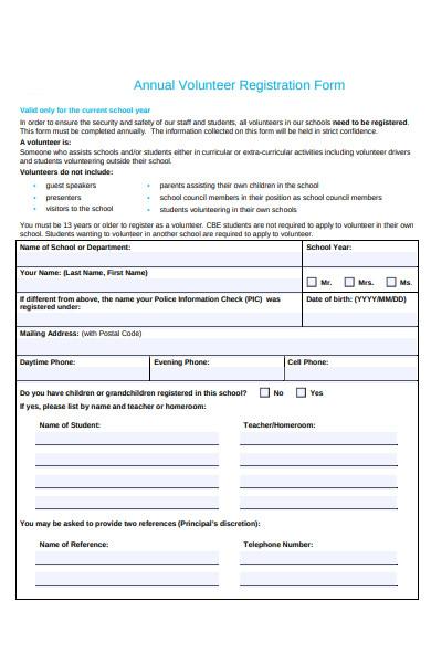 annual volunteer registration form