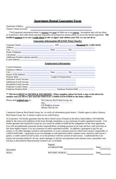 apartment rental guarantor form