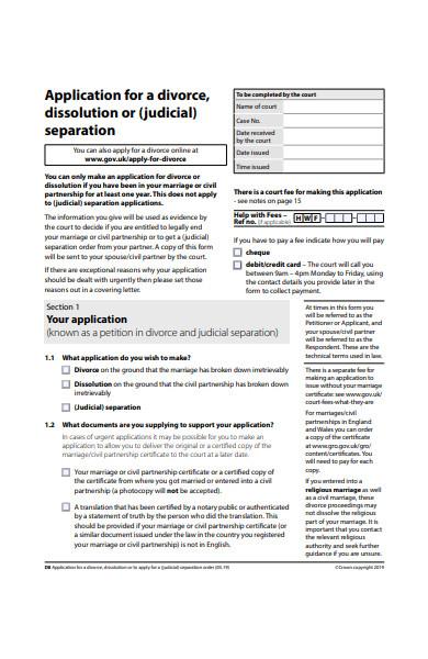 application form for divorce in pdf