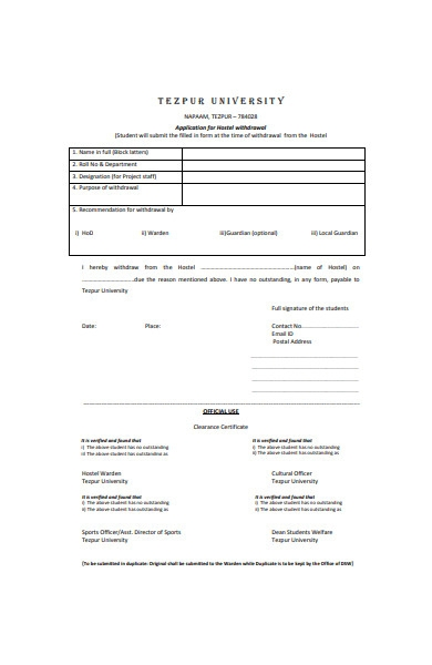 application form for hostel withdrawal