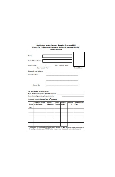 application form for the summer training