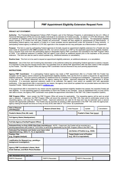 appointment eligibility extension request form