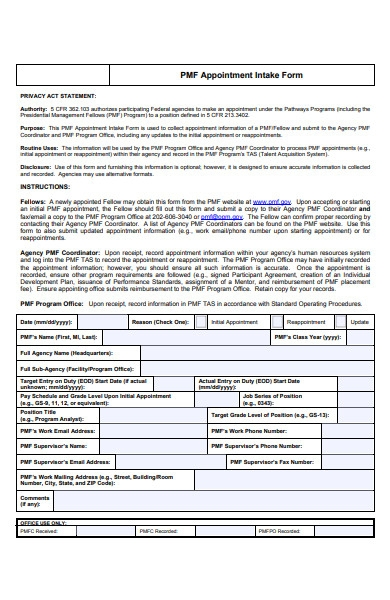 appointment intake form