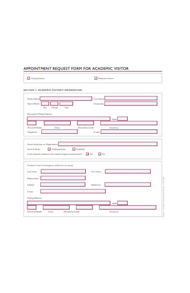 appointment request form for academic visitors