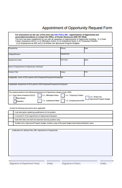 appointment of opportunity request form