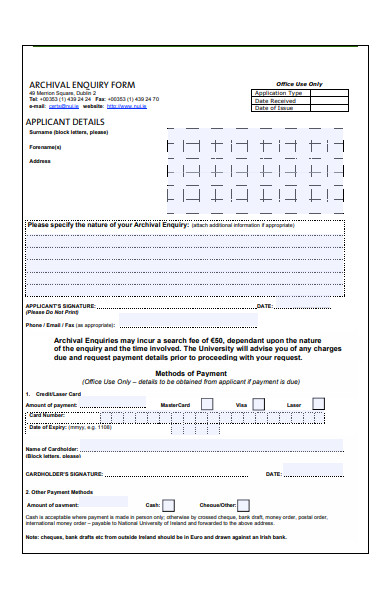 archival enquiry form