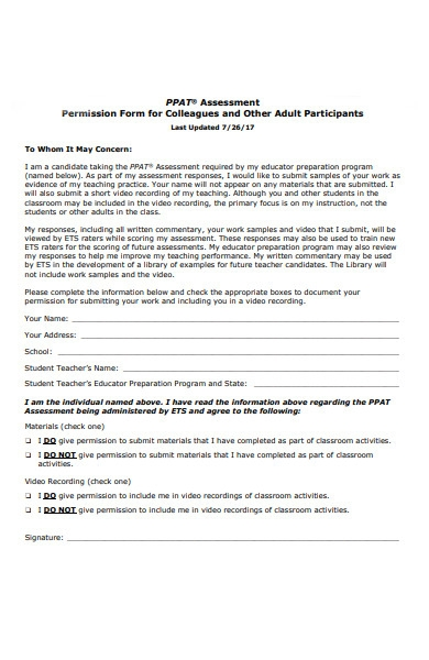 assessment permission form