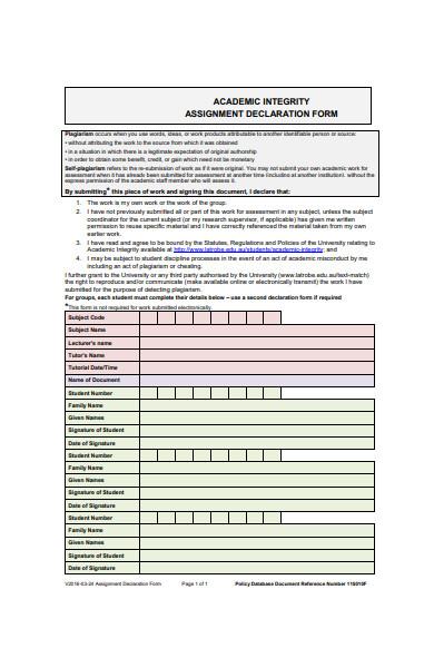 assignment declaration form