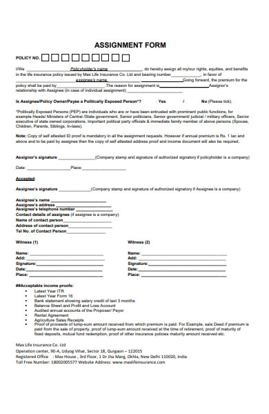 assignment form template