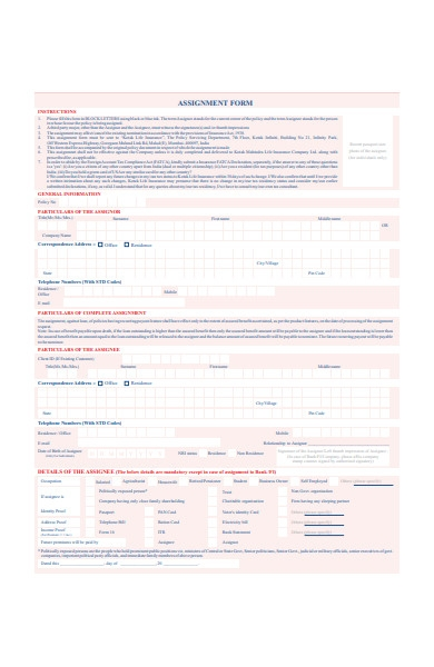 assignment form in pdf