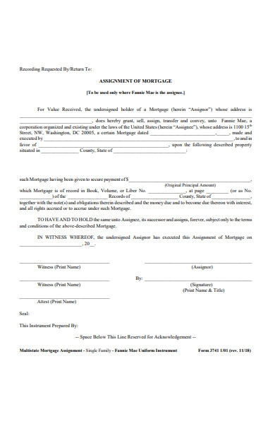 assignment form of mortage