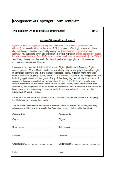 assignment of copyright form template