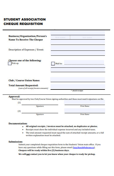 association cheque requisition form