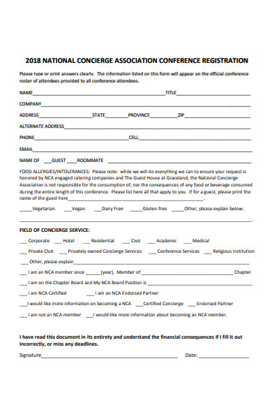association conference registration form