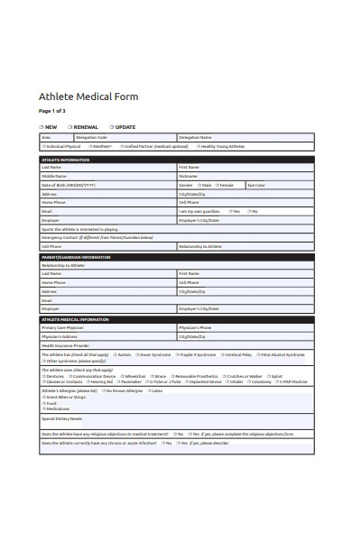 athlete medical form template