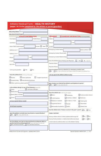 athlete medical form