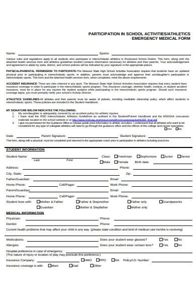 athletics emergency medical form
