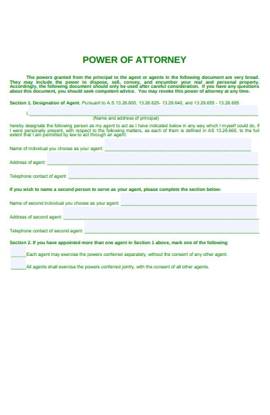 attorney form sample