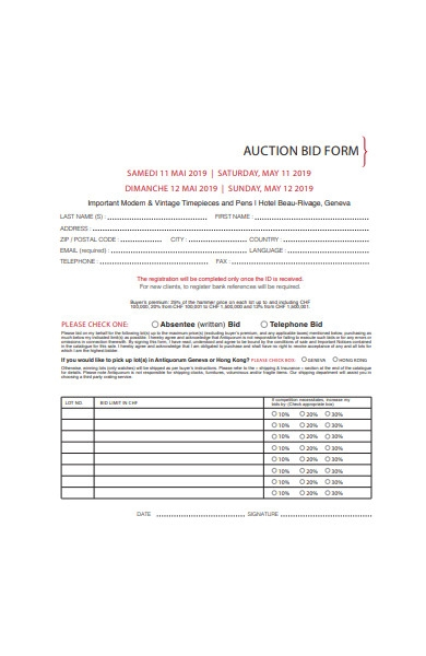 auction bid form