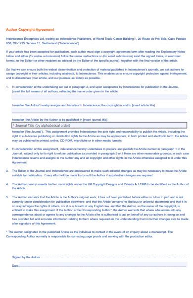 author copyright agreement form