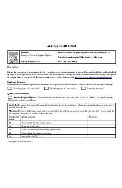 author query form
