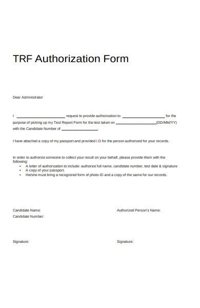 authorization form letter