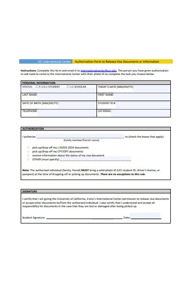authorization form to release visa documents