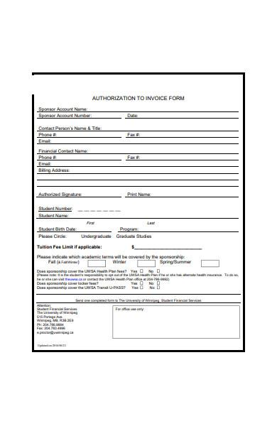 authorization to invoice form