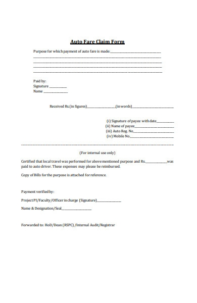 auto fare claim form