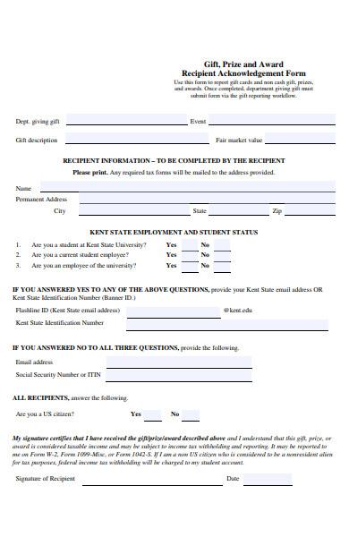 award recipient acknowledgement form