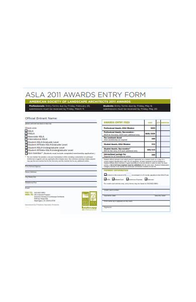 awards entry form