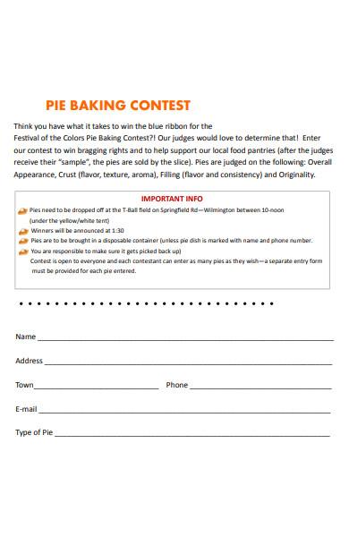 baking contest registration form