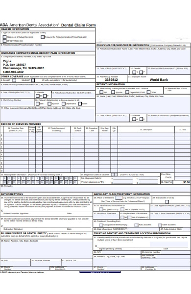 bank claim form