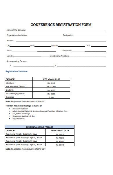 bank conference registration form