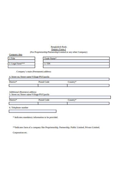 bank enquiry form