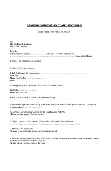 banking complaint form