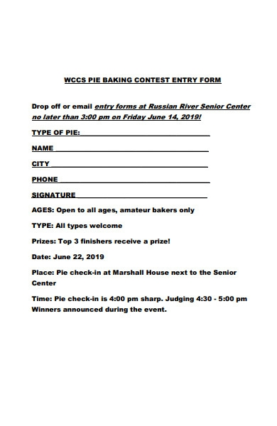 banking contest entry form